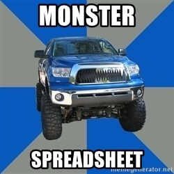 Monster Truck - MONSTER SPREADSHEET