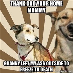 Stoner dogs concerned friend - Thank god your home mommy  Granny left my ass outside to freeze to death
