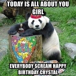 Happy Birthday Panda - TODAY IS ALL ABOUT YOU GIRL EVERYBODY SCREAM HAPPY BIRTHDAY CRYSTAL