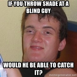 high/drunk guy - If you throw shade at a blind guy would he be able to catch it?