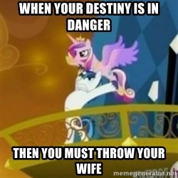 Shining Armor throwing Cadence - when your destiny is in danger then you must throw your wife