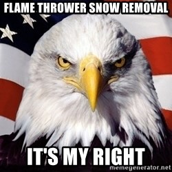 American Pride Eagle - Flame thrower snow removal It's my right