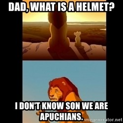 Lion King Shadowy Place - DAD, What is a helmet? i don't know son we are apuchians.