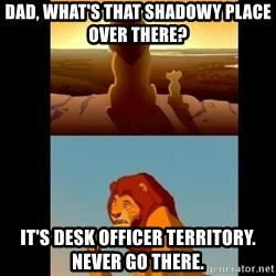 Lion King Shadowy Place - Dad, what's that shadowy place over there? It's Desk Officer territory.  Never go there.