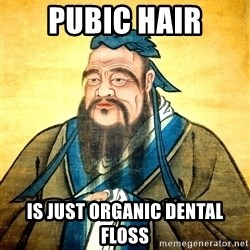 Confucius Say What? - Pubic hair is just organic dental floss