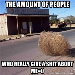 Tumbleweed - The amount of people  Who really give a shit about me=0
