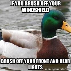 Actual Advice Mallard 1 - If you brush off your windshield  brush off your front and rear lights