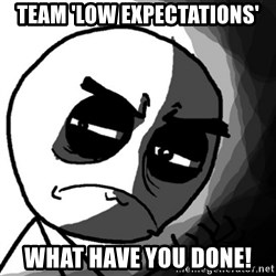 You, what have you done? (Draw) - team 'low expectations' what have you done!