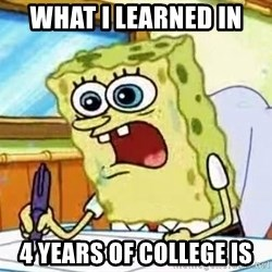 Spongebob What I Learned In Boating School Is - What I learned in  4 years of college is