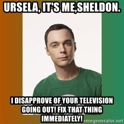 sheldon cooper  - Ursela, It's Me,Sheldon. I disapprove of your Television going out! Fix that thing Immediately!