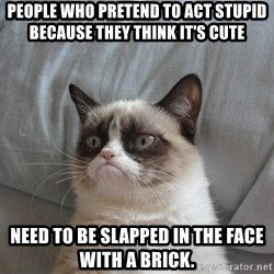 Grumpy cat good - People who pretend to act stupid because they think it's cute  Need to be slapped in the face with a brick.