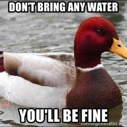Malicious advice mallard - Don't bring any water You'll be fine