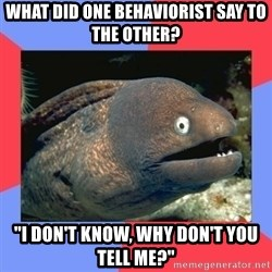 """Bad Joke Eels - What did one behaviorist say to the other? """"I don't know, why don't you tell me?"""""""