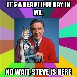 mr rogers  - It's a beautiful day in my.. No wait, steve is here