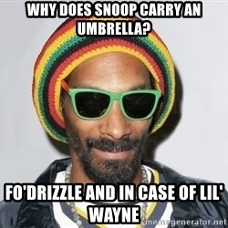 Snoop lion2 - Why does Snoop carry an umbrella? fo'drizzle and in case of lil' wayne