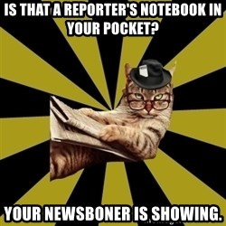 Frustrated Journalist Cat - Is that a reporter's notebook in your pocket? Your newsboner is showing.