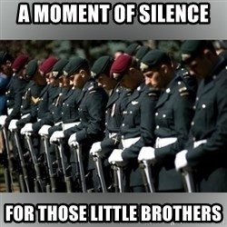 Moment Of Silence - A moment of silence  For those little brothers