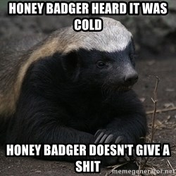 Honey Badger - Honey Badger heard it was cold Honey Badger doesn't give a shit