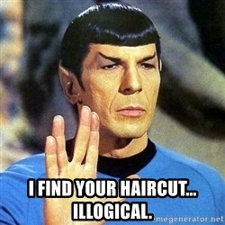 Spock -  I find your haircut... illogical.