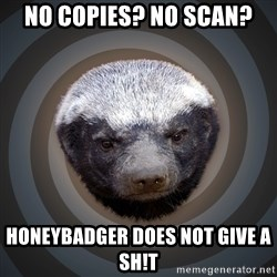 Fearless Honeybadger - No Copies? No Scan? Honeybadger does not give a sh!t