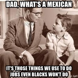 Racist Father - DAD, What's a Mexican It's those things we use to do jobs even blacks won't do