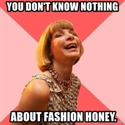 Amused Anna Wintour - you don't know nothing  about fashion honey.