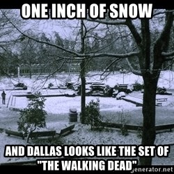 "UVIC SNOWDAY - one inch of snow and dallas looks like the set of ""the walking dead"""