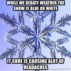 Special Snowflake meme - while we debate weather the snow is blue or white it sure is causing alot of headaches