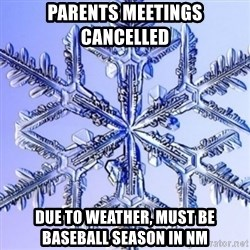 Special Snowflake meme - Parents Meetings Cancelled  due to weather, must be Baseball season in NM