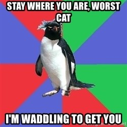 Comic Book Addict Penguin - Stay where you are, worst cat I'm waddling to get you