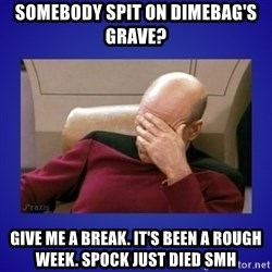 Picard facepalm  - somebody spit on dimebag's grave? give me a break. it's been a rough week. spock just died SMH