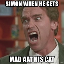 Arnold - Simon when he gets  mad aat his cat