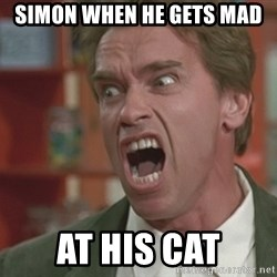 Arnold - Simon when he gets mad  At his cat