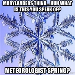 Special Snowflake meme - Marylanders think....huh what is this you speak of?  meteorologist spring?