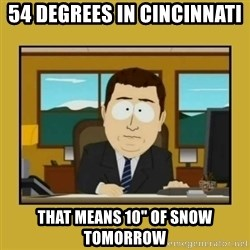 "aaand its gone - 54 degrees in Cincinnati that means 10"" of snow tomorrow"