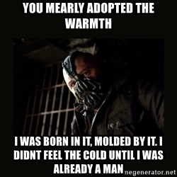 Bane Dark Knight - you mearly adopted the warmth i was born in it, molded by it. I didnt feel the cold until i was already a man