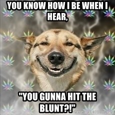 "Original Stoner Dog - you know how I be when I hear, ""You gunna hit the blunt?!"""