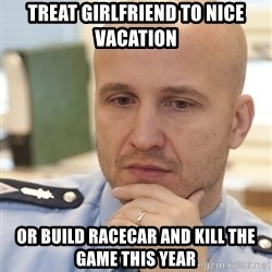 riepottelujuttu - Treat girlfriend to nice vacation Or build racecar and kill the game this year