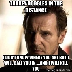Liam Neeson meme - Turkey gobbles in the distance I don't know where you are but I will call you in.....and I will kill you