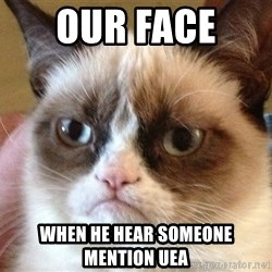 Angry Cat Meme - Our face  When he hear someone mention UEA