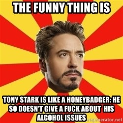 Leave it to Iron Man - The funny thing is Tony Stark is like a honeybadger: He so doesn't give a fuck about  his alcohol issues