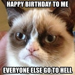 Angry Cat Meme - Happy Birthday to me Everyone else go to hell