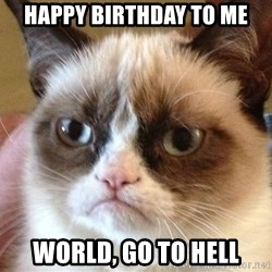 Angry Cat Meme - Happy Birthday to me World, go to hell