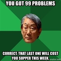 High Expectations Asian Father - you got 99 problems correct. that last one will cost you supper this week.