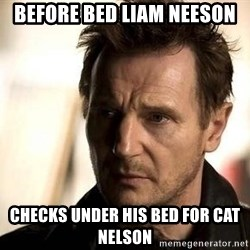 Liam Neeson meme - Before bed Liam neeson  Checks under his bed for cat nelson