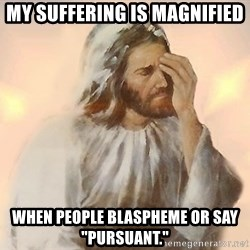 """Facepalm Jesus - my suffering is magnified when people blaspheme or say """"pursuant."""""""