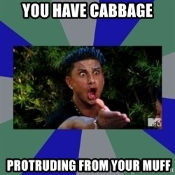 jersey shore - You have cabbage  protruding from your muff