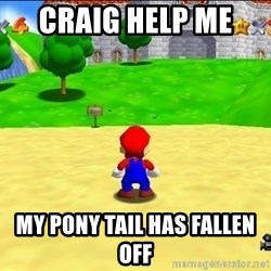 Mario looking at castle - Craig help me  My pony tail has fallen off