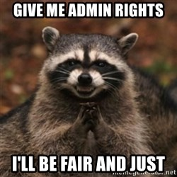 evil raccoon - Give me admin rights I'll be fair and just