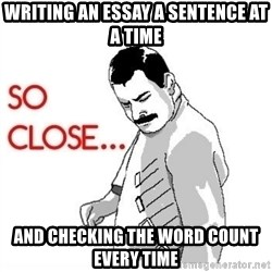 So Close... meme - writing an essay a sentence at a time and checking the word count every time